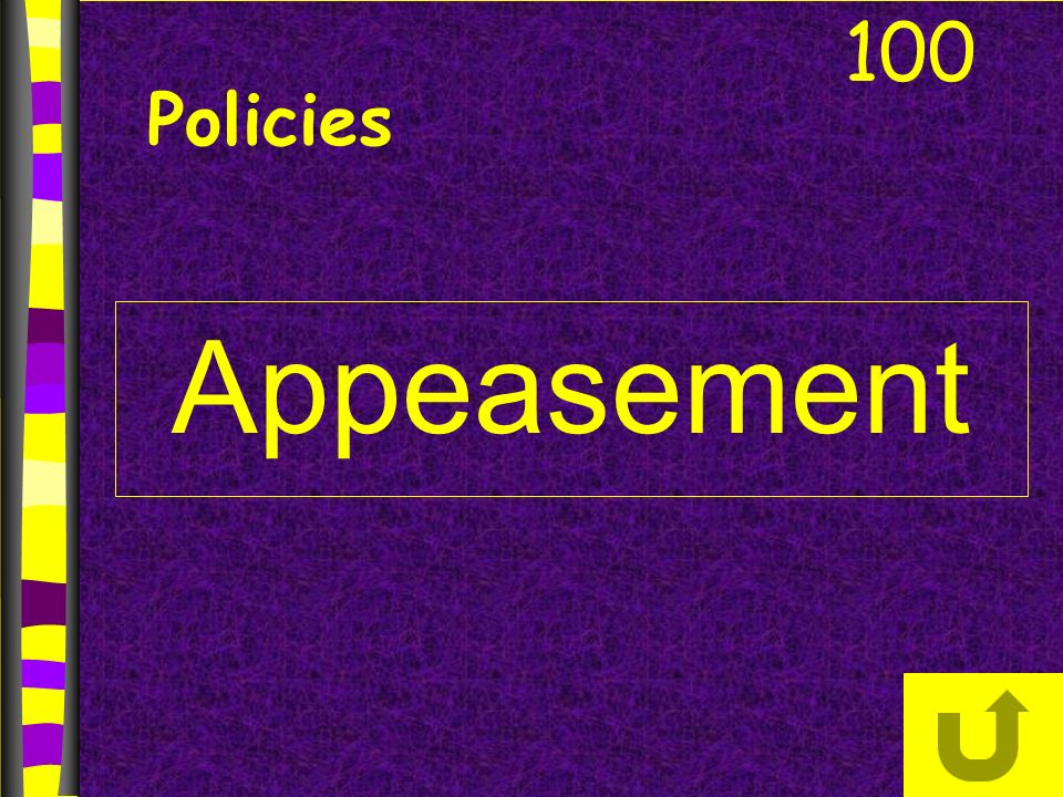 Appeasement 100 Policies
