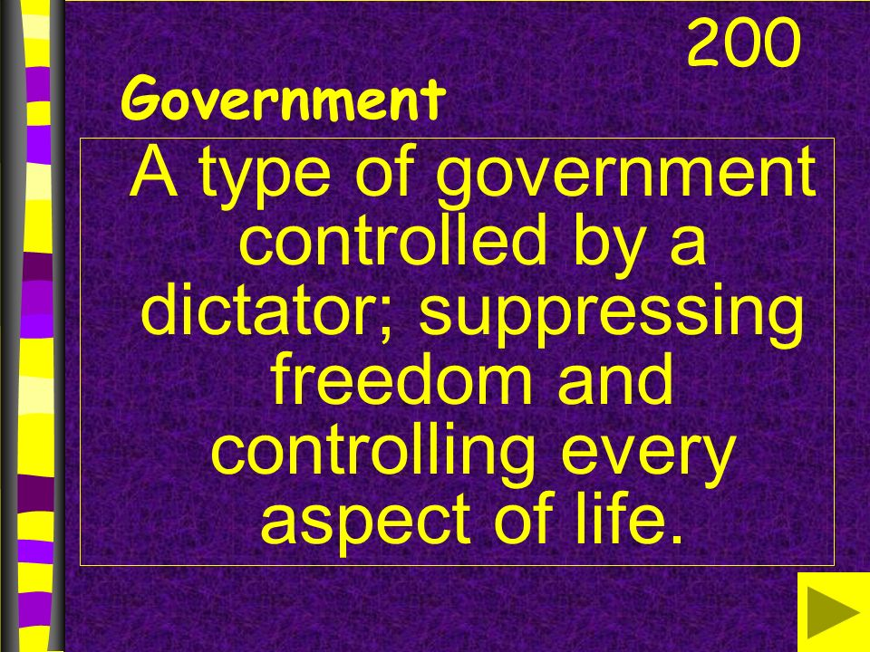 Government A type of government controlled by a dictator; suppressing freedom and controlling every aspect of life.