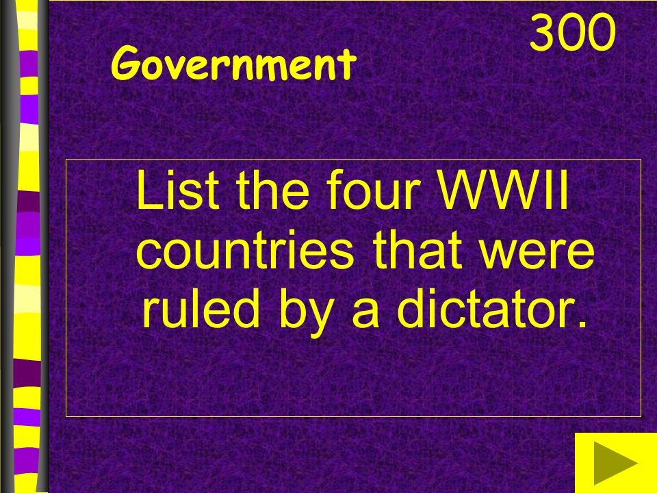 Government List the four WWII countries that were ruled by a dictator. 300