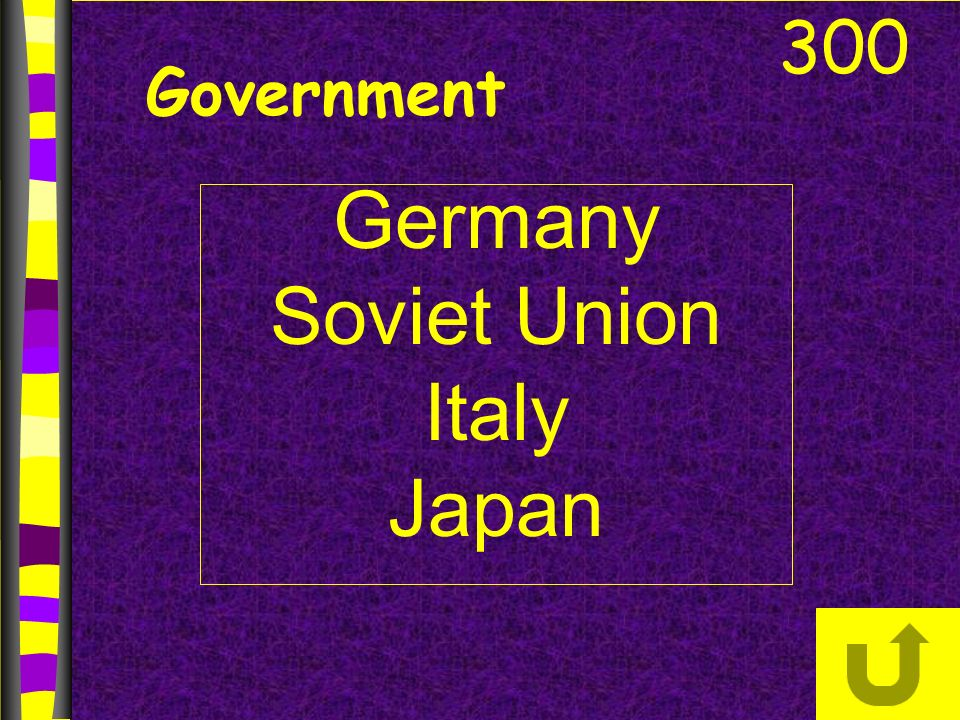 Government Germany Soviet Union Italy Japan 300