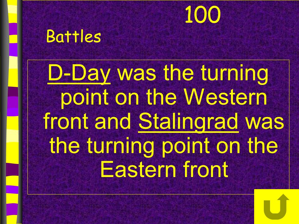 D-Day was the turning point on the Western front and Stalingrad was the turning point on the Eastern front 100 Battles
