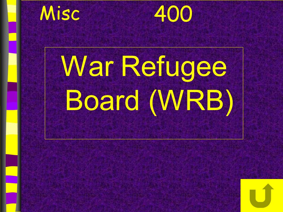 War Refugee Board (WRB) 400 Misc