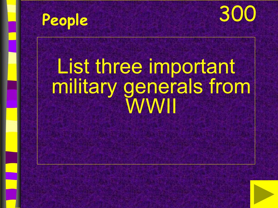 List three important military generals from WWII 300 People