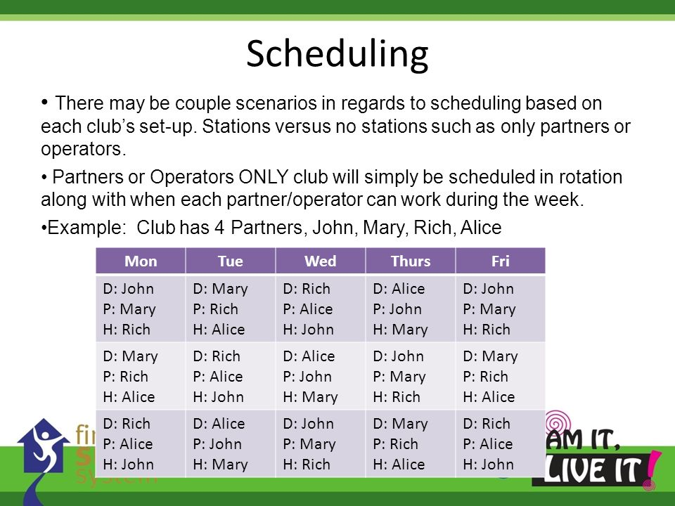 Scheduling There may be couple scenarios in regards to scheduling based on each clubs set-up. Stations versus no stations such as only partners or ope
