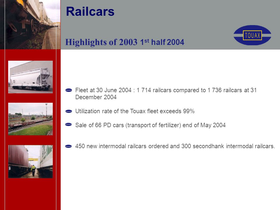 Highlights of 2003 1 st half 2004 Fleet at 30 June 2004 : 1 714 railcars compared to 1 736 railcars at 31 December 2004 Utilization rate of the Touax fleet exceeds 99% Sale of 66 PD cars (transport of fertilizer) end of May 2004 450 new intermodal railcars ordered and 300 secondhank intermodal railcars.