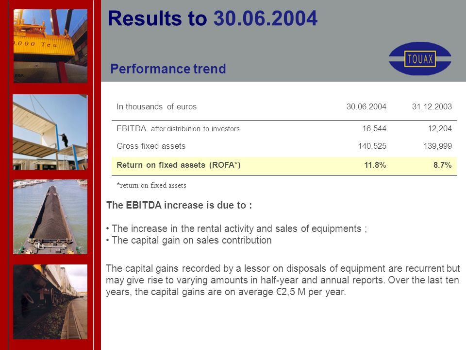 Performance trend Results to 30.06.2004 In thousands of euros30.06.200431.12.2003 EBITDA after distribution to investors 16,54412,204 Gross fixed assets140,525139,999 Return on fixed assets (ROFA*)11.8%8.7% *return on fixed assets The EBITDA increase is due to : The increase in the rental activity and sales of equipments ; The capital gain on sales contribution The capital gains recorded by a lessor on disposals of equipment are recurrent but may give rise to varying amounts in half-year and annual reports.