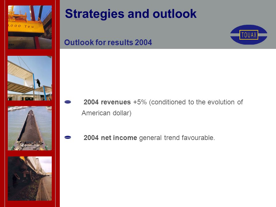 Outlook for results 2004 2004 revenues +5% (conditioned to the evolution of American dollar) 2004 net income general trend favourable.