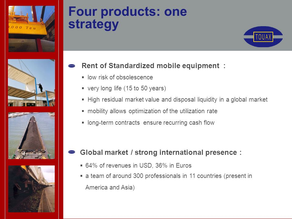 Four products: one strategy Rent of Standardized mobile equipment : low risk of obsolescence very long life (15 to 50 years) High residual market value and disposal liquidity in a global market mobility allows optimization of the utilization rate long-term contracts ensure recurring cash flow Global market / strong international presence : 64% of revenues in USD, 36% in Euros a team of around 300 professionals in 11 countries (present in America and Asia)