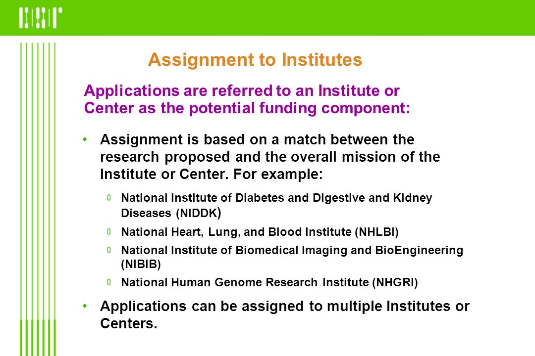 Applications are referred to an Institute or Center as the potential funding component: Assignment is based on a match between the research proposed a