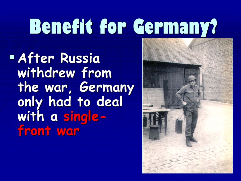 Benefit for Germany.