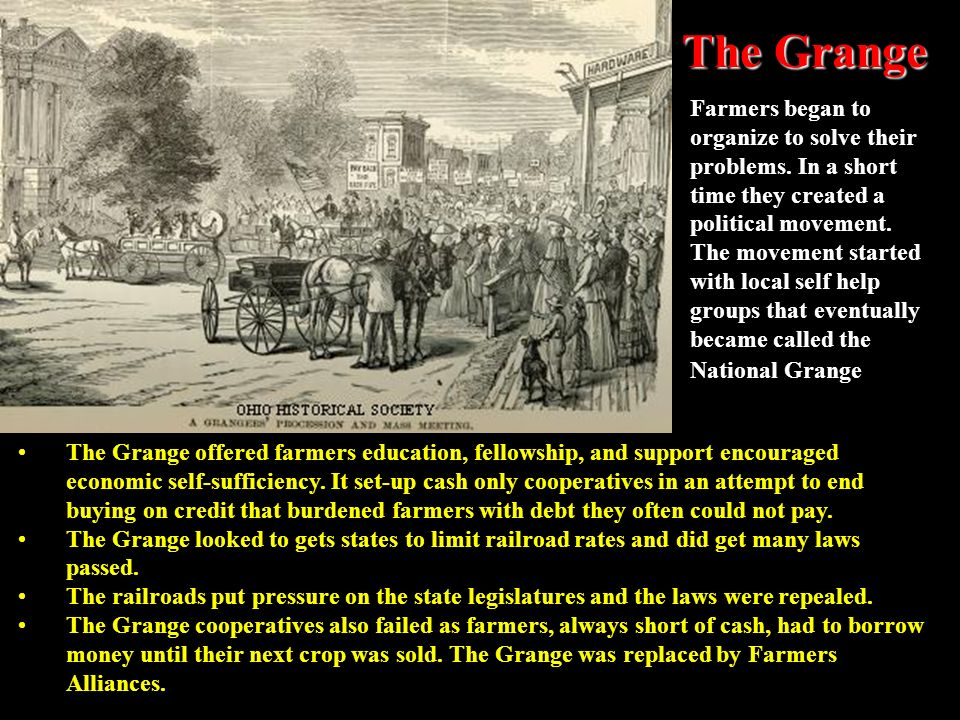 Farmers in Protest After the Civil War farming expanded and as more land was cultivated supplies grew faster than demand which caused prices to fall w