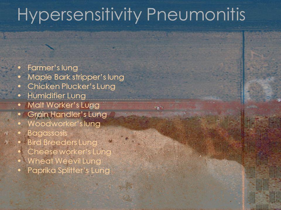 Hypersensitivity Pneumonitis Farmers lung Maple Bark strippers lung Chicken Pluckers Lung Humidifier Lung Malt Workers Lung Grain Handlers Lung Woodwo
