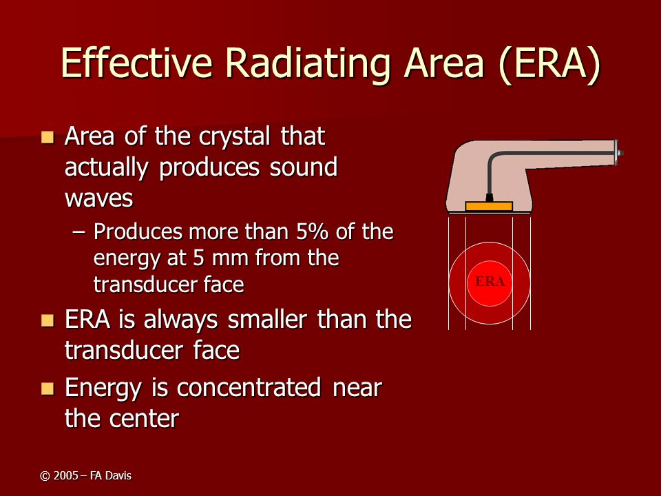 © 2005 – FA Davis Effective Radiating Area (ERA) Area of the crystal that actually produces sound waves Area of the crystal that actually produces sou