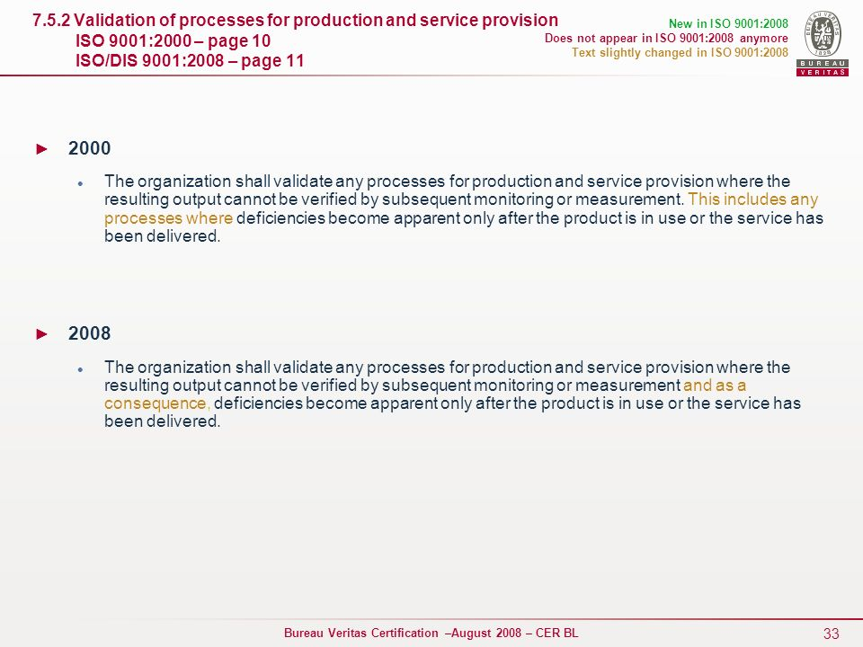 33 Bureau Veritas Certification –August 2008 – CER BL 7.5.2 Validation of processes for production and service provision ISO 9001:2000 – page 10 ISO/D
