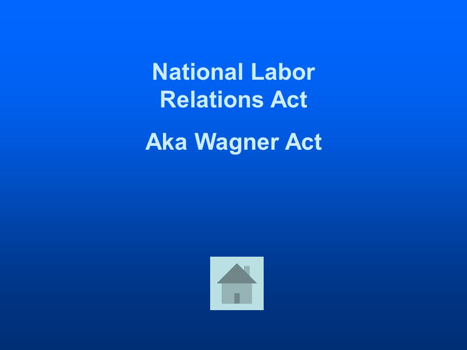 National Labor Relations Act Aka Wagner Act