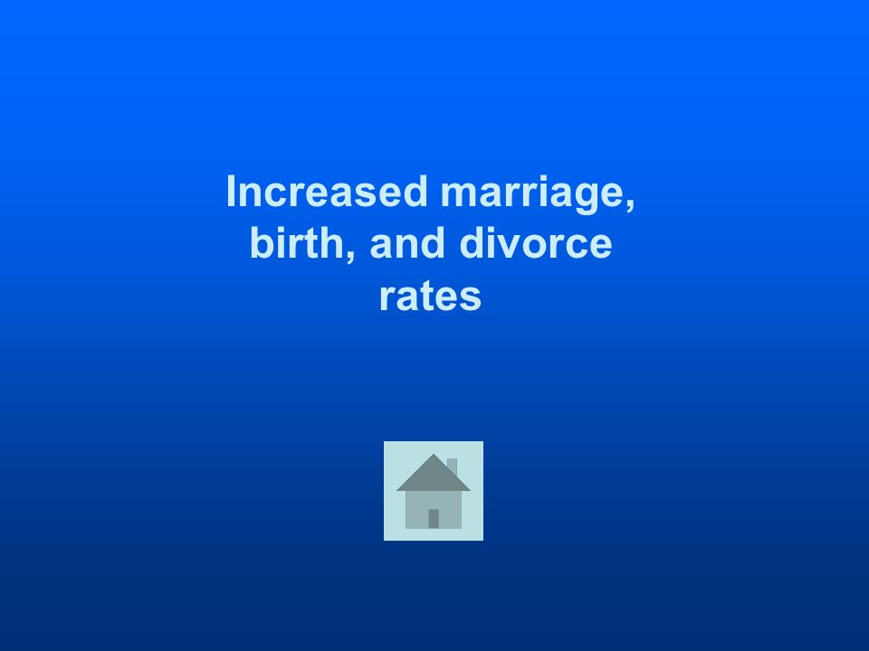 Increased marriage, birth, and divorce rates