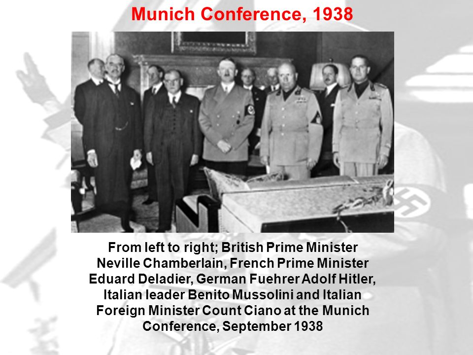 From left to right; British Prime Minister Neville Chamberlain, French Prime Minister Eduard Deladier, German Fuehrer Adolf Hitler, Italian leader Ben