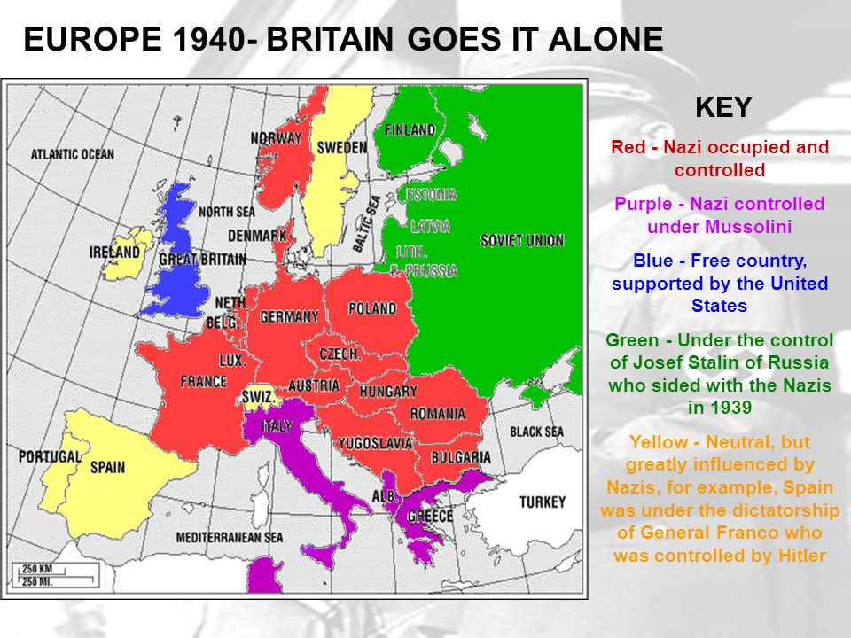 KEY Red - Nazi occupied and controlled Purple - Nazi controlled under Mussolini Blue - Free country, supported by the United States Green - Under the