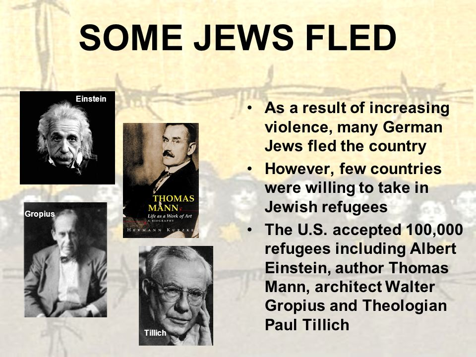 SOME JEWS FLED As a result of increasing violence, many German Jews fled the country However, few countries were willing to take in Jewish refugees Th