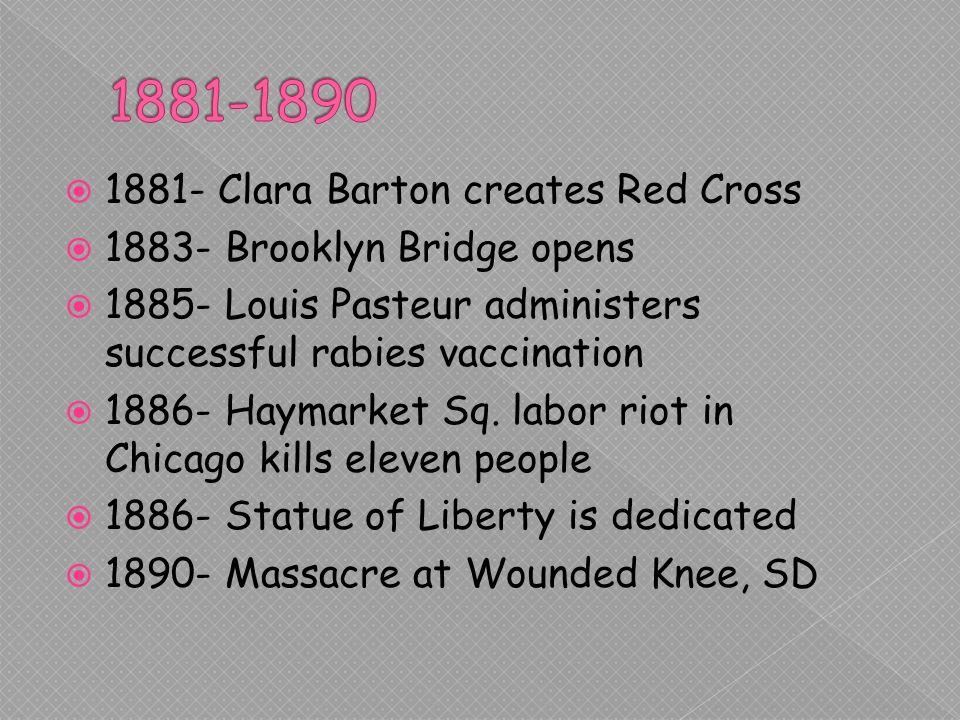 1881- Clara Barton creates Red Cross 1883- Brooklyn Bridge opens 1885- Louis Pasteur administers successful rabies vaccination 1886- Haymarket Sq.