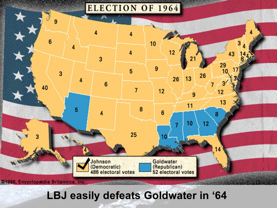 LBJ easily defeats Goldwater in 64