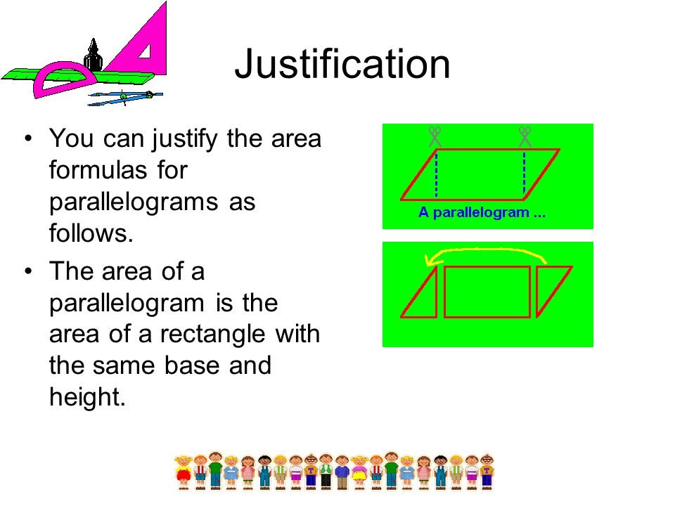 Justification You can justify the area formulas for parallelograms as follows. The area of a parallelogram is the area of a rectangle with the same ba
