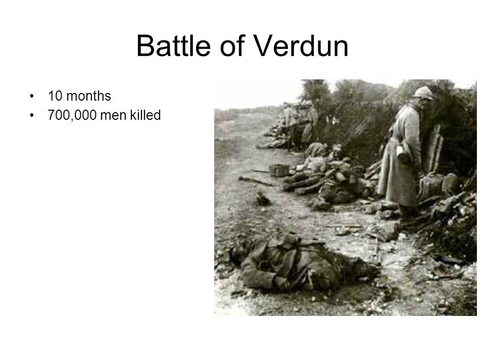 Battle of Verdun 10 months 700,000 men killed