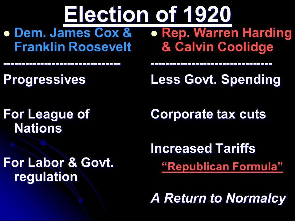 Election of 1920 Dem. James Cox & Franklin Roosevelt-------------------------------Progressives For League of Nations For Labor & Govt. regulation Rep