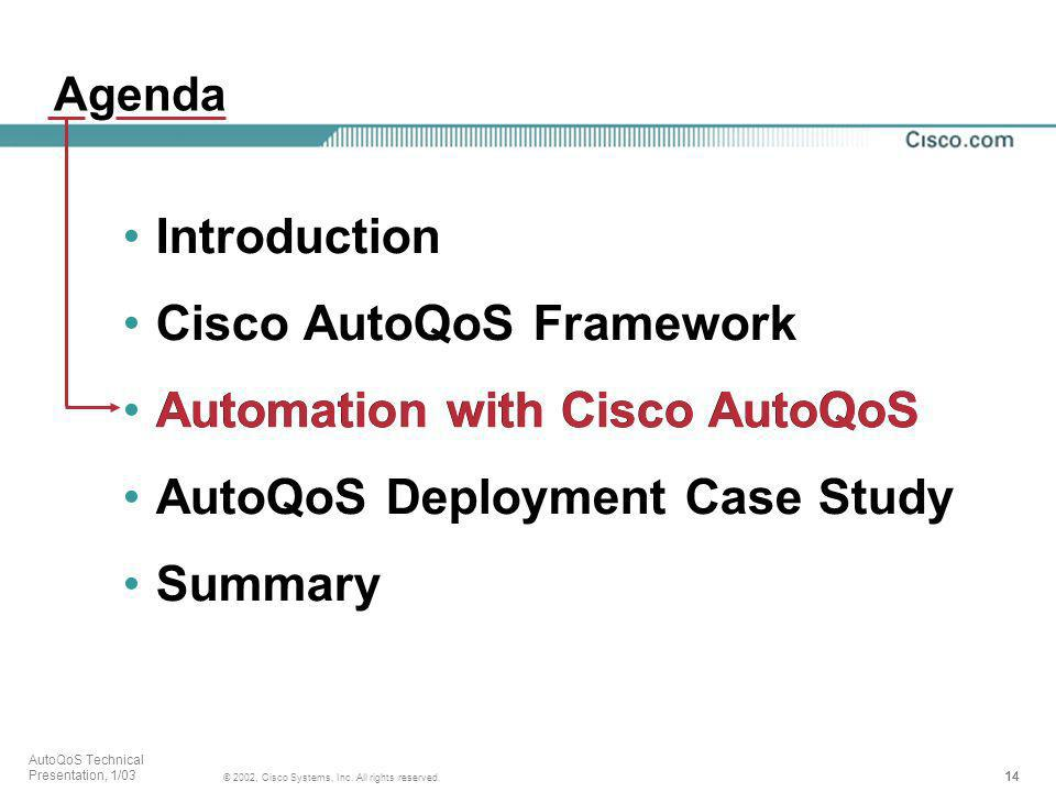 14 © 2002, Cisco Systems, Inc. All rights reserved. AutoQoS Technical Presentation, 1/03 Agenda Introduction Cisco AutoQoS Framework Automation with C