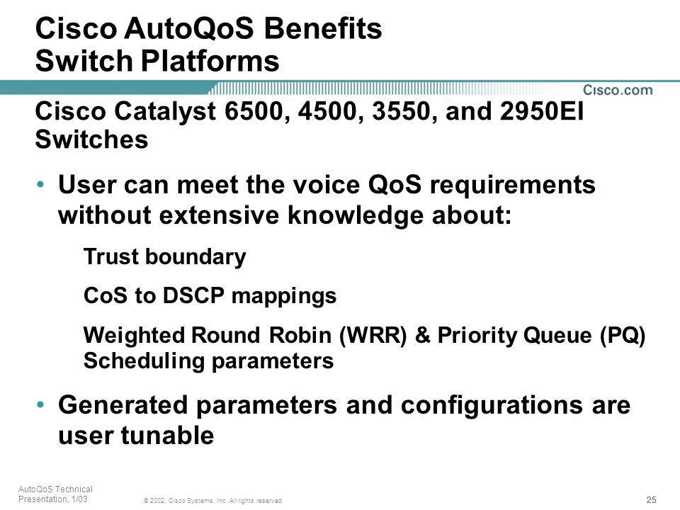 25 © 2002, Cisco Systems, Inc. All rights reserved. AutoQoS Technical Presentation, 1/03 User can meet the voice QoS requirements without extensive kn