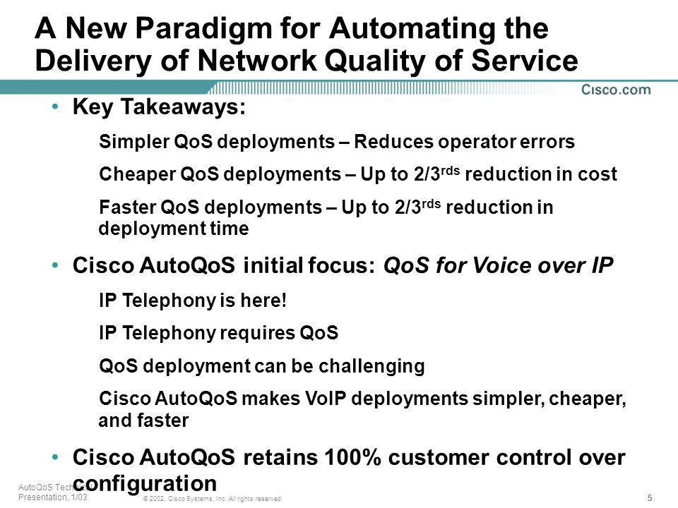 5555 © 2002, Cisco Systems, Inc. All rights reserved. AutoQoS Technical Presentation, 1/03 A New Paradigm for Automating the Delivery of Network Quali