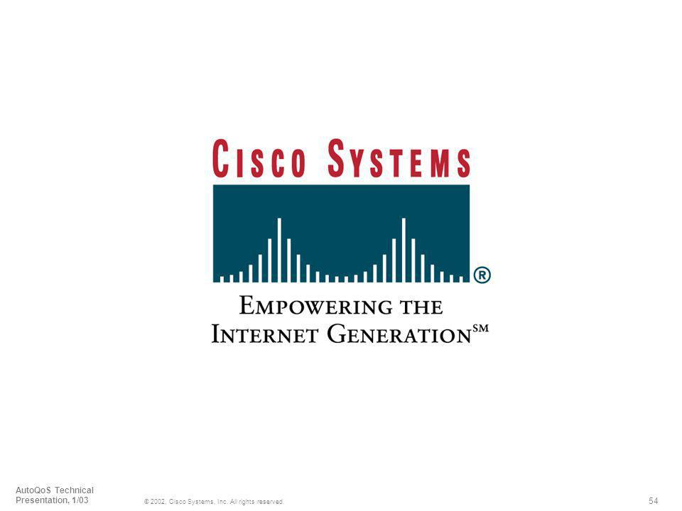 54 © 2002, Cisco Systems, Inc. All rights reserved. AutoQoS Technical Presentation, 1/03