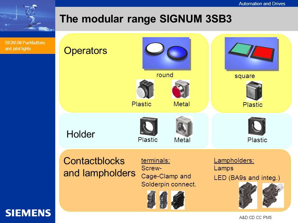 Automation and Drives A&D CD CC PM5 SIGNUM Pushbuttons and pilot lights The modular range SIGNUM 3SB3 Plastic Metal Plastic Operators Holder Plastic C