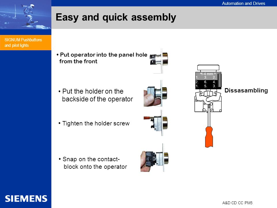 Automation and Drives A&D CD CC PM5 SIGNUM Pushbuttons and pilot lights Easy and quick assembly