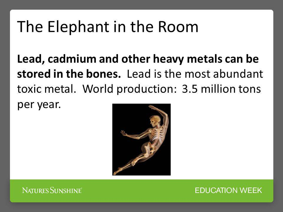 The Elephant in the Room Lead, cadmium and other heavy metals can be stored in the bones. Lead is the most abundant toxic metal. World production: 3.5