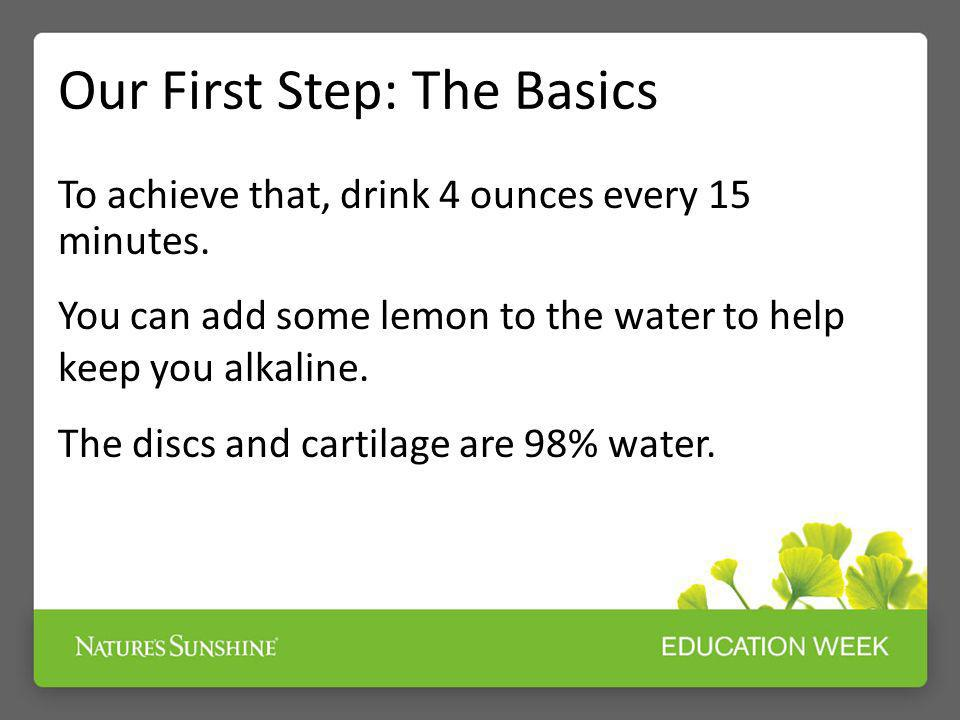 Our First Step: The Basics To achieve that, drink 4 ounces every 15 minutes. You can add some lemon to the water to help keep you alkaline. The discs