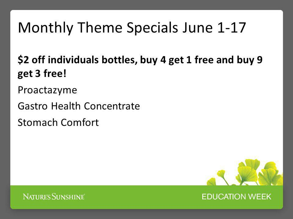 Monthly Theme Specials June 1-17 $2 off individuals bottles, buy 4 get 1 free and buy 9 get 3 free! Proactazyme Gastro Health Concentrate Stomach Comf