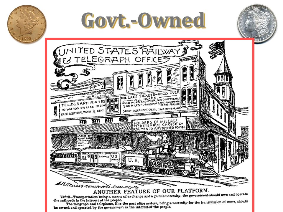 Omaha (populist) Platform of 1892 1. System of sub-treasuries. 2. Abolition of the National Bank. 3. Direct election of Senators. 4. Govt. ownership o