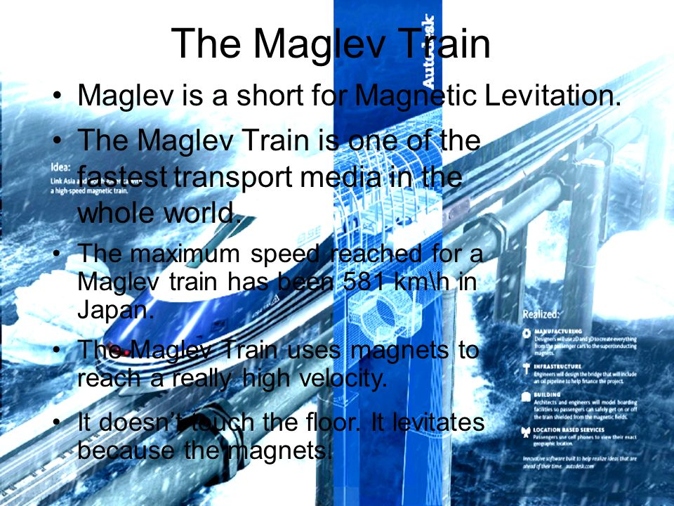 The Maglev Train The Maglev Train is one of the fastest transport media in the whole world.