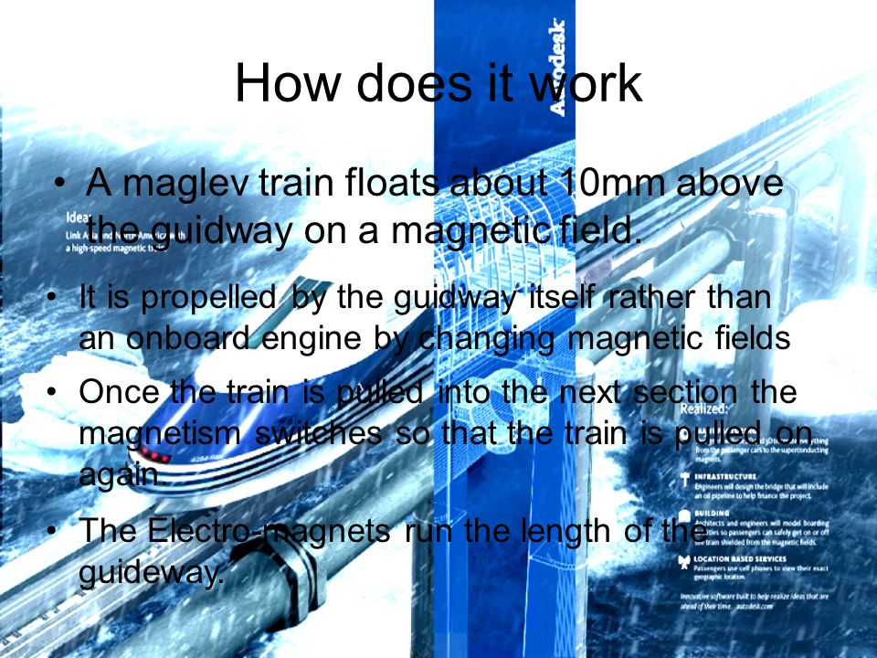 How does it work A maglev train floats about 10mm above the guidway on a magnetic field.
