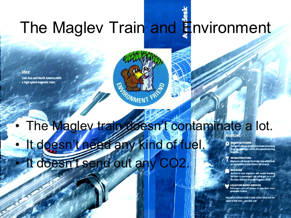The Maglev Train and Environment The Maglev train doesnt contaminate a lot.