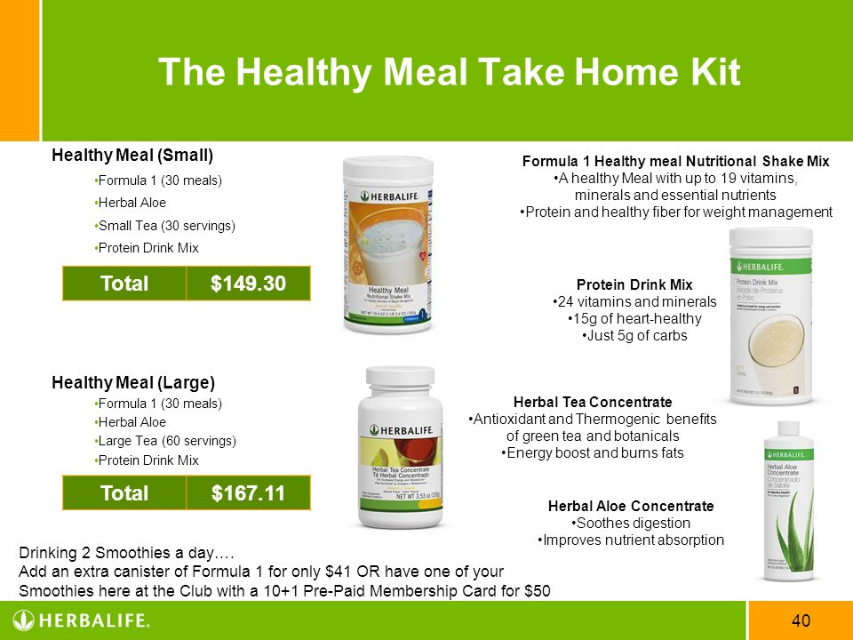 40 The Healthy Meal Take Home Kit Healthy Meal (Small) Formula 1 (30 meals) Herbal Aloe Small Tea (30 servings) Protein Drink Mix Healthy Meal (Large)