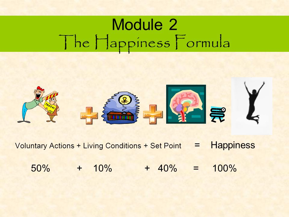 Module 2 The Happiness Formula V + L + S = Happiness Section A: Voluntary Actions Section B: Living Conditions Section C: Set Point (Brain Patterns)