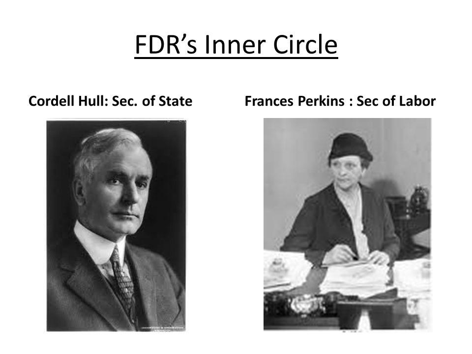 FDRs Inner Circle Cordell Hull: Sec. of StateFrances Perkins : Sec of Labor