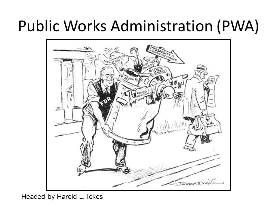 Public Works Administration (PWA) Headed by Harold L. Ickes