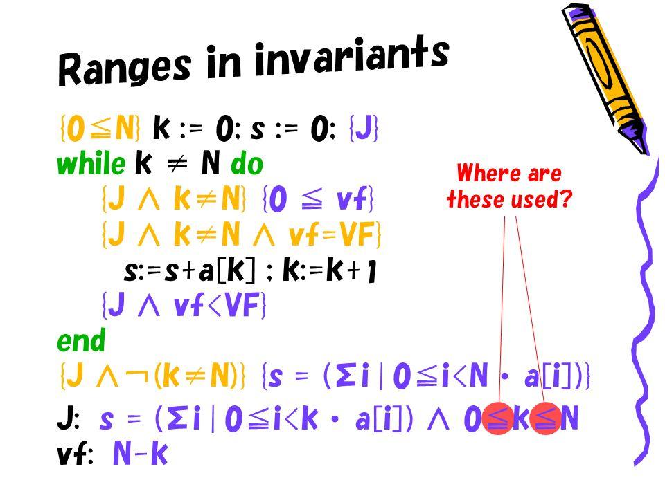 Ranges in invariants {0N} k := 0; s := 0; {J} while k N do {J kN} {0 vf} {J kN vf=VF} s:=s+a[k] ; k:=k+ 1 {J vf<VF} end {J (kN)} {s = (Σi | 0i<N a[i])