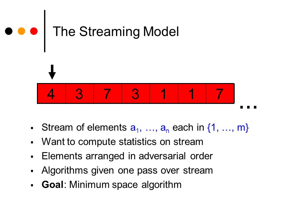 The Streaming Model 7113734 … Stream of elements a 1, …, a n each in {1, …, m} Want to compute statistics on stream Elements arranged in adversarial order Algorithms given one pass over stream Goal: Minimum space algorithm