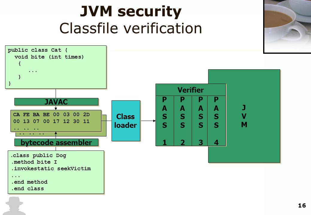 16 JVMJVM JVMJVM CA FE BA BE 00 03 00 2D 00 13 07 00 17 12 30 11...... JVM security Classfile verification public class Cat { void bite (int times) {.