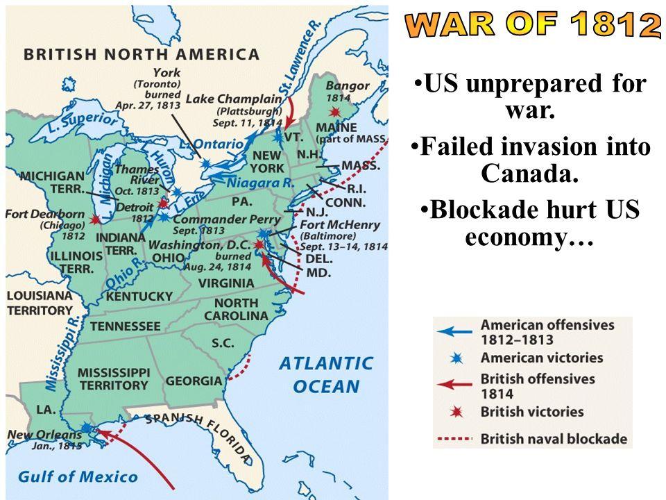 US unprepared for war. Failed invasion into Canada. Blockade hurt US economy…