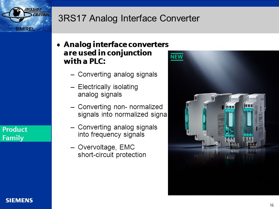 Automation and Drives s SIRIUS 16 SIMIREL s 3RS17 Analog Interface Converter Analog interface converters are used in conjunction with a PLC: –Converti